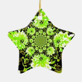 抽象的なライムグリーンのダリア 陶器製星型オーナメント