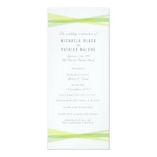 抽象的なリボンの結婚式プログラム-緑 10.2 X 23.5 インビテーションカード