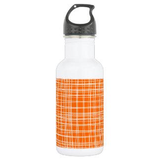 抽象的なレトロの斜子織のオレンジ白いパターン(の模様が)ある ウォーターボトル
