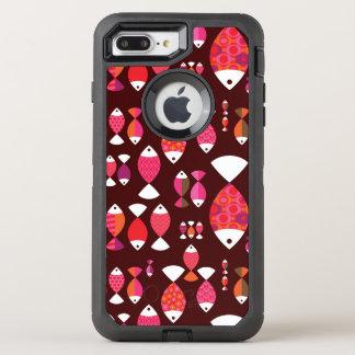 抽象的なレトロの魚の水中パターン オッターボックスディフェンダーiPhone 8 PLUS/7 PLUSケース