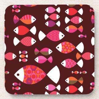 抽象的なレトロの魚の水中パターン コースター