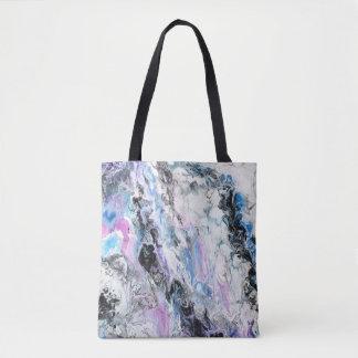 抽象的な元の絵画の紫色の暗藍色のペンキ トートバッグ