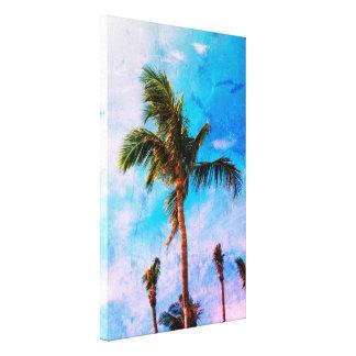 抽象的な効果の熱帯ヤシの木 キャンバスプリント