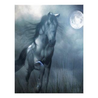 抽象的な動物の月光の馬 レターヘッド