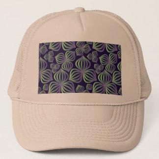 抽象的な勾配の紫色の緑の花パターン キャップ