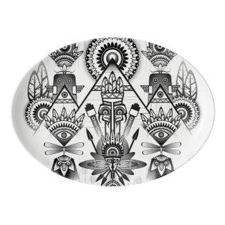 抽象的な古代原産のインドの種族 磁器大皿