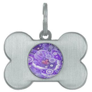 抽象的な同心円のモザイク紫色の蘭 ペットネームタグ