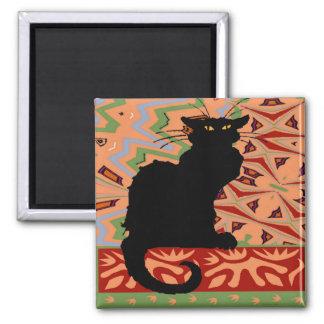 抽象的な壁紙の黒猫 冷蔵庫用マグネット