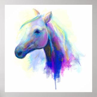 抽象的な多彩のヘッド馬 ポスター