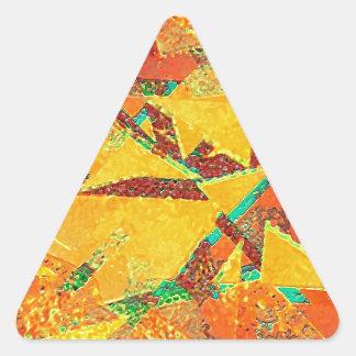 抽象的な多彩の暖かい色の背景 三角形シール