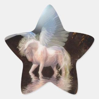 抽象的な天使の白馬 星シール