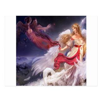 抽象的な天使の静寂暗闇およびライト ポストカード
