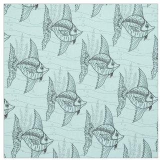 抽象的な天使の魚の禅の落書きのスタイルパターン ファブリック