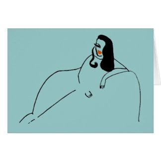 抽象的な女性のソファー グリーティングカード