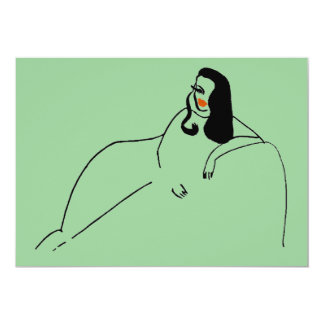 抽象的な女性のソファー 12.7 X 17.8 インビテーションカード