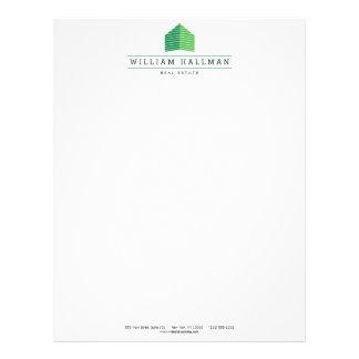 抽象的な家のロゴの緑か白 レターヘッド