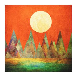 抽象的な景色の満月山のオレンジの空 キャンバスプリント