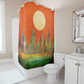 抽象的な景色の満月山のオレンジの空 シャワーカーテン