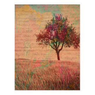抽象的な景色の芸術のパステルの木草原の単語 ポストカード
