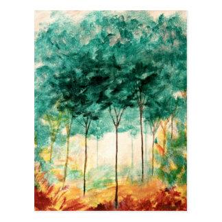 抽象的な景色の芸術の木の森林絵画 ポストカード