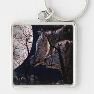 抽象的な月の森林オオカミの木のキーホルダー キーホルダー