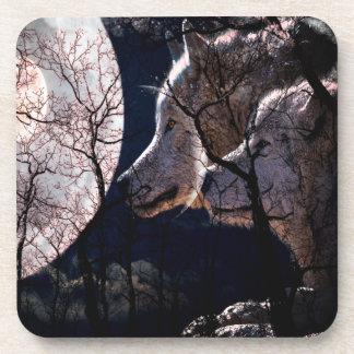 抽象的な月の森林オオカミの木のコースターセット コースター