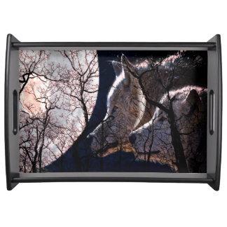 抽象的な月の森林オオカミの木のサービングの皿 トレー