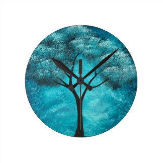 抽象的な木の芸術の柱時計 ラウンド壁時計