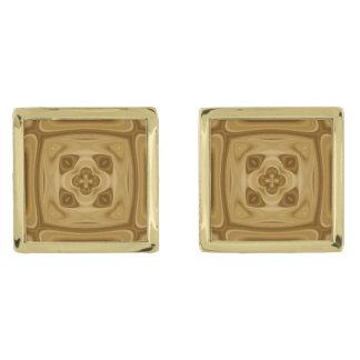 抽象的な木製パターン ゴールド カフスボタン