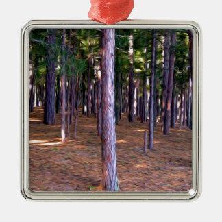抽象的な松の木の森林 メタルオーナメント