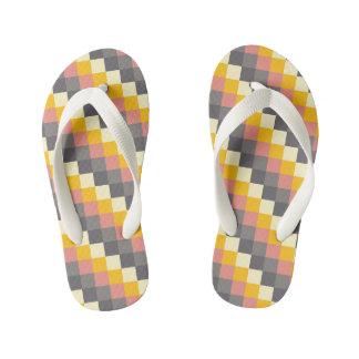 抽象的な格子色パターン キッズビーチサンダル