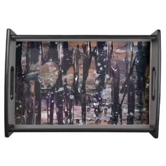 抽象的な森林トレイ トレー