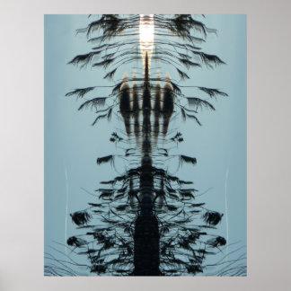 """抽象的な水の黒ポスターを""""自由に""""飛ばして下さい プリント"""