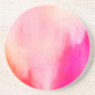 抽象的な水彩画のピンクの珊瑚のオレンジカラフル ドリンク用コースター