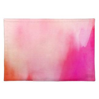 抽象的な水彩画のピンクの珊瑚のオレンジカラフル ランチョンマット