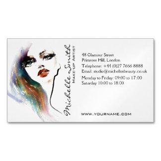 抽象的な水彩画の多彩な女性の化粧のブランディング マグネット名刺 (25枚パック)