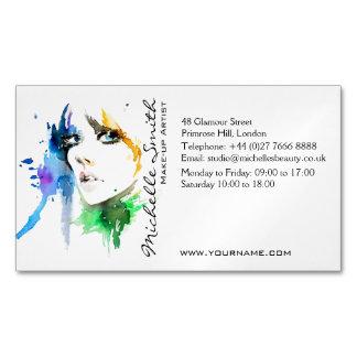 抽象的な水彩画の女性のメーキャップアーティストのブランディング マグネット名刺