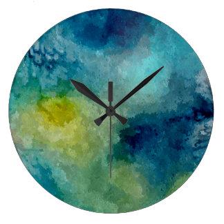 抽象的な水彩画の絵画の芸術 ラージ壁時計
