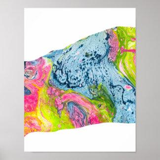 抽象的な水彩画の芸術のカラフル山 ポスター