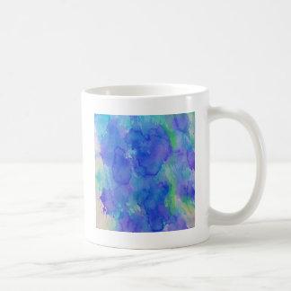抽象的な水彩画の青、エメラルド、すみれ色緑 コーヒーマグカップ