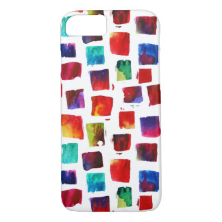 抽象的な水彩画は幾何学的なパターンを平方します iPhone 8/7ケース