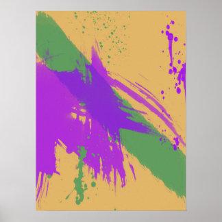 抽象的な水彩画は紫色の緑金ゴールドを絵を描きます ポスター