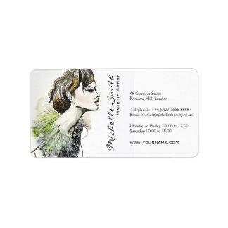 抽象的な水彩画インク多彩な女性の化粧 宛名ラベル