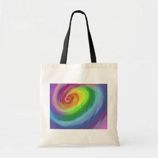 抽象的な油絵の虹の渦巻のトートバック トートバッグ