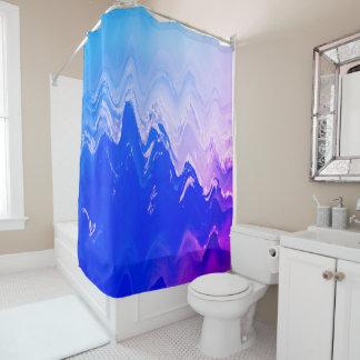 抽象的な海のビーチは青い紫色の波を振ります シャワーカーテン