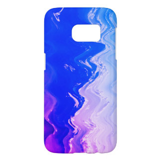 抽象的な海のビーチは青い紫色の波を振ります SAMSUNG GALAXY S7 ケース