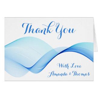 抽象的な海洋波は青い名前入り感謝していしています カード