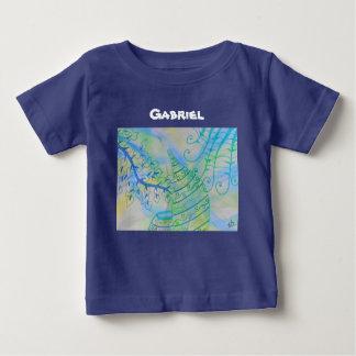 抽象的な混合メディアのポットおよび植物 ベビーTシャツ