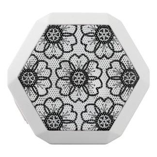 抽象的な白黒の花の落書きのハートパターン ホワイトBluetoothスピーカー