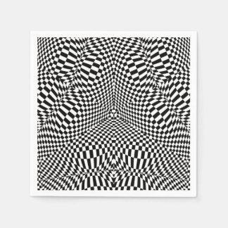 抽象的な白黒チェック模様のパターン スタンダードカクテルナプキン